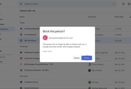 Google Drive implementa la opción de bloquear usuarios para prevenir SPAM 2