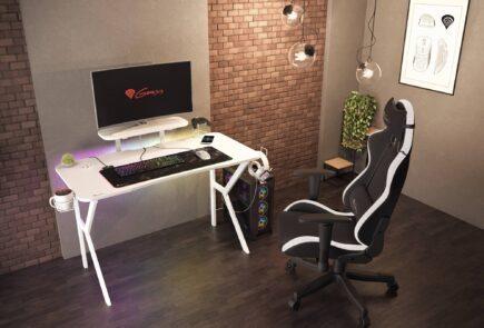 Genesis HOLM 320 RGB blanco, un escritorio gamer con iluminación RGB 1