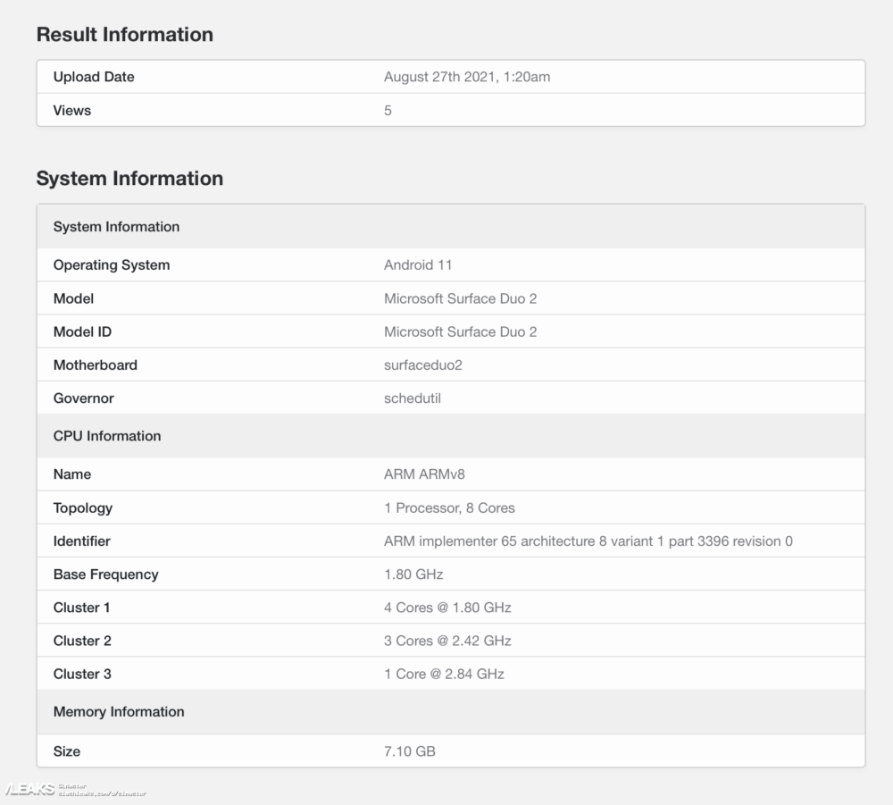 El Microsoft Surface Duo 2 deja ver algunas especificaciones en su paso por Geekbench 1